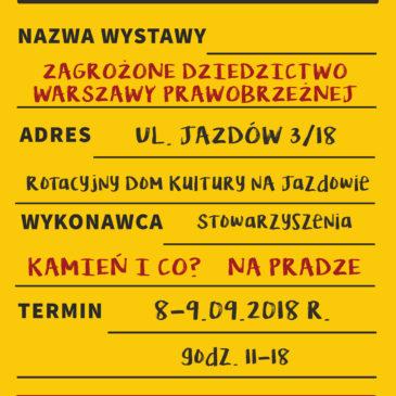 Wystawa Zagrożone dziedzictwo Warszawy prawobrzeżnej